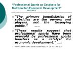 professional sports as catalysts for metropolitan economic development abstract