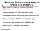 division of pharmaceutical analysis critical path initiatives