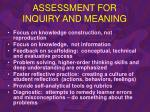 assessment for inquiry and meaning