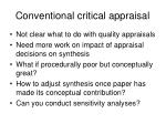 conventional critical appraisal