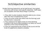 slo objective similarities