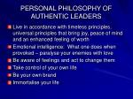 personal philosophy of authentic leaders