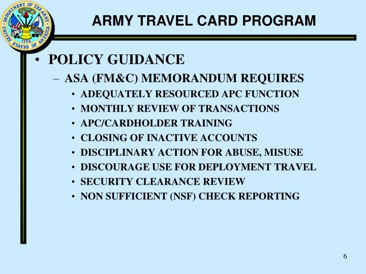 Ppt Army Travel Card Program Powerpoint Presentation