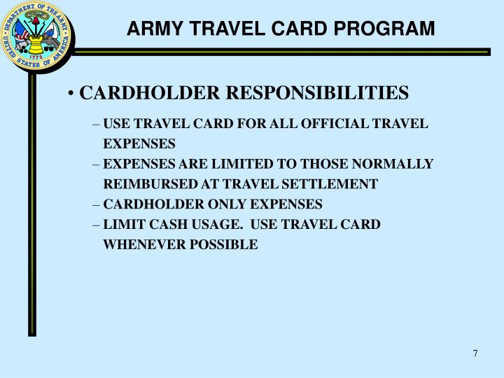 Ppt Army Travel Card Program Powerpoint Presentation