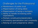 challenges for the professional