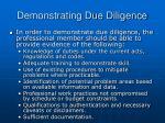 demonstrating due diligence