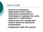 goals of ewe