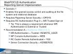 webfocus authentication reporting server impersonation