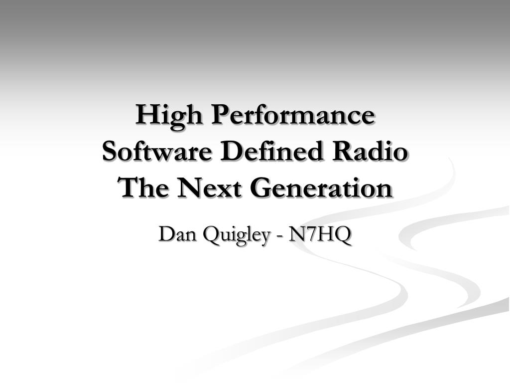 high performance software defined radio the next generation l.
