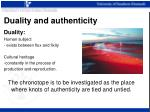 duality and authenticity