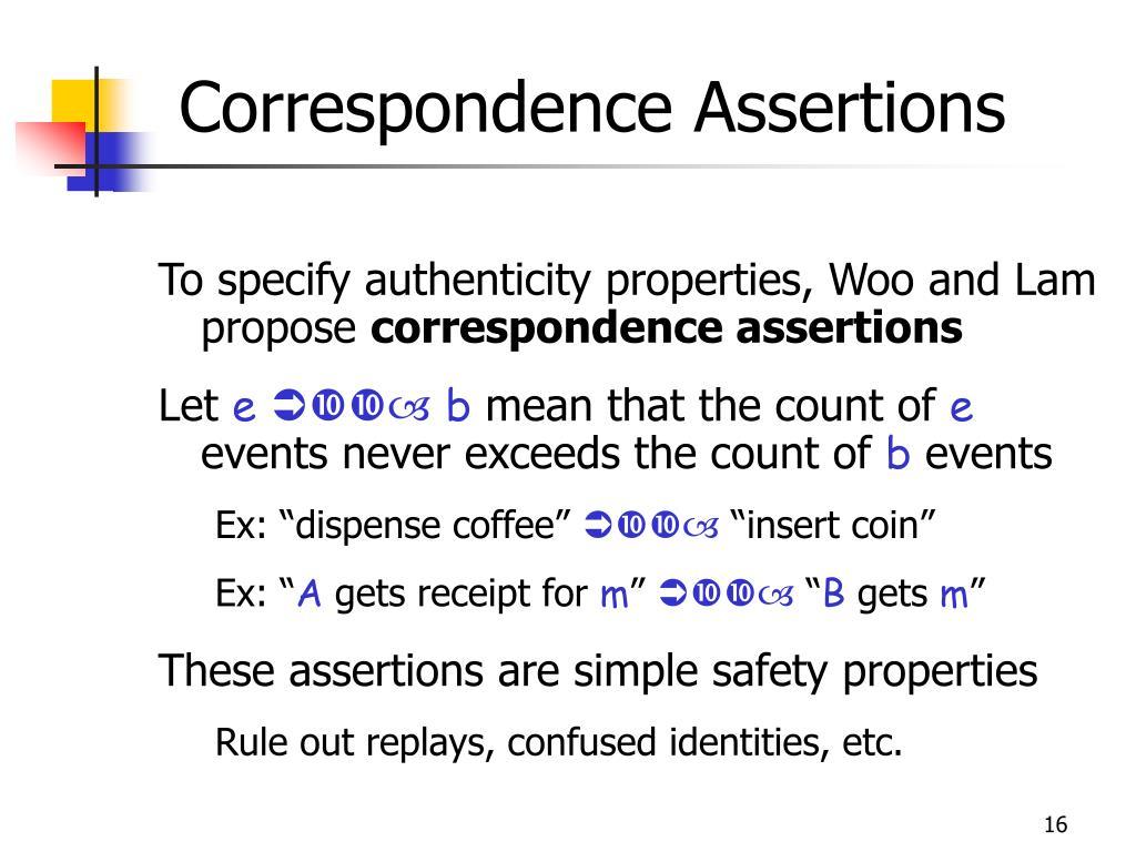 Correspondence Assertions