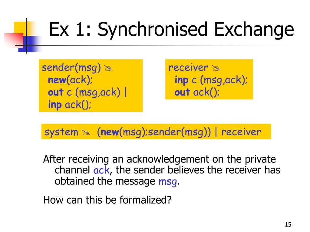 Ex 1: Synchronised Exchange