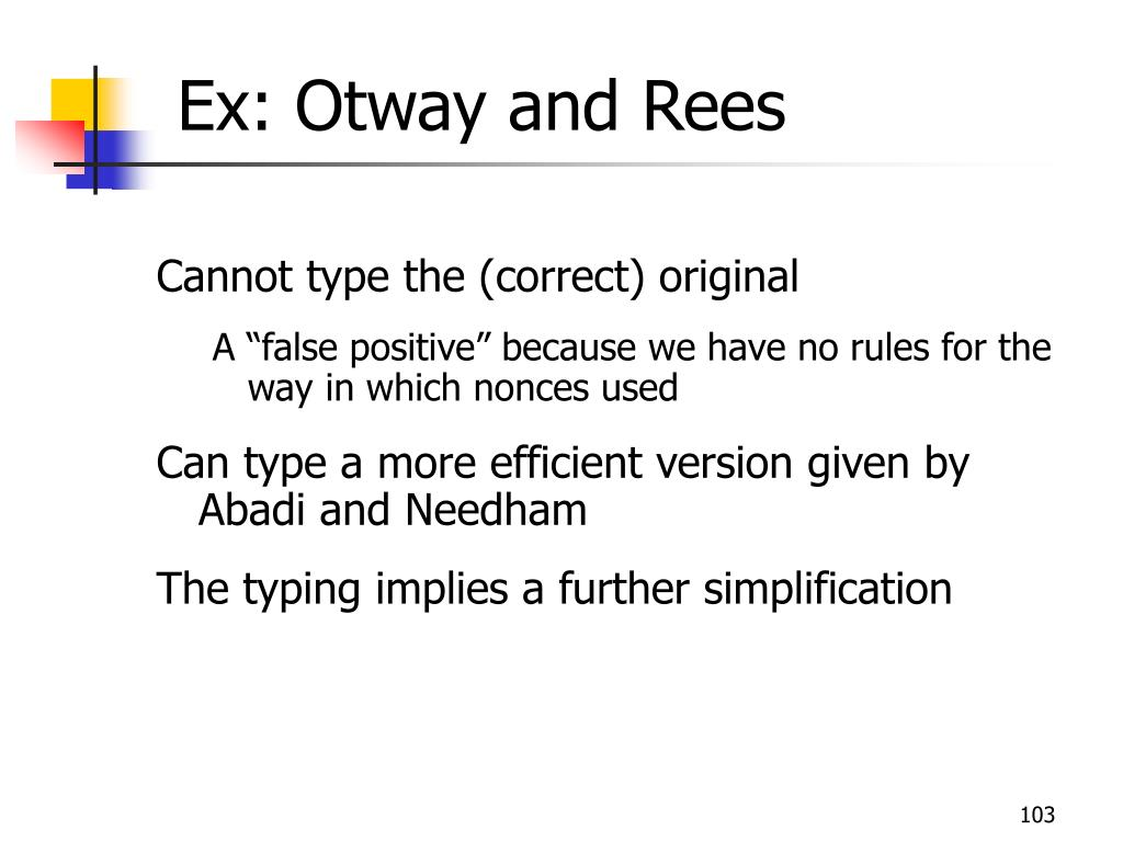 Ex: Otway and Rees