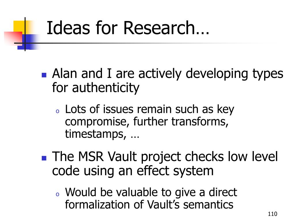 Ideas for Research…