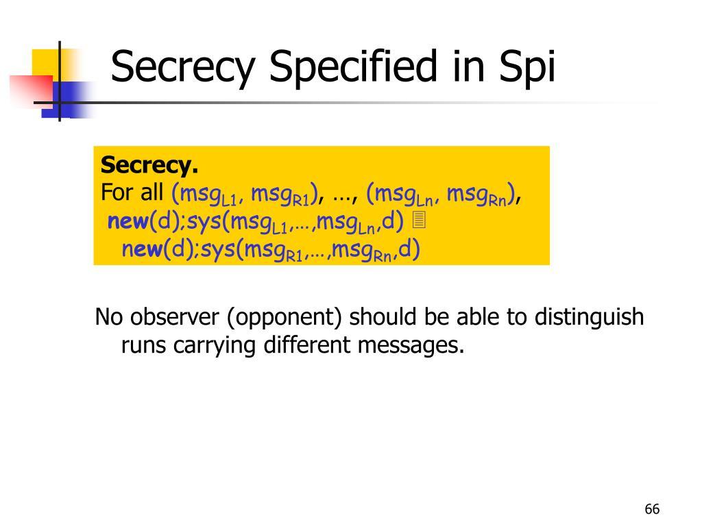 Secrecy Specified in Spi