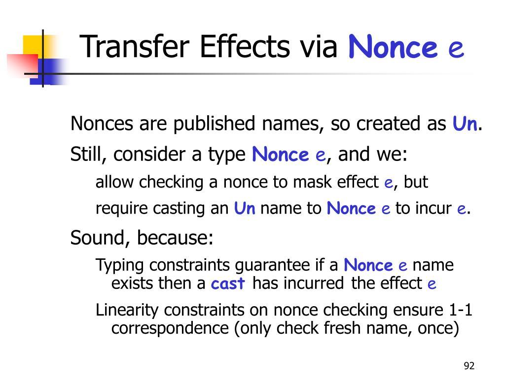 Transfer Effects via