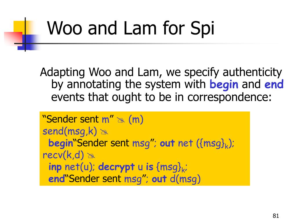 Woo and Lam for Spi