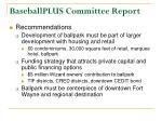 baseballplus committee report