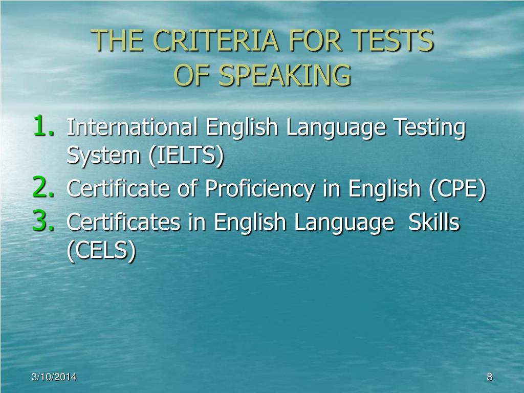 THE CRITERIA FOR TESTS