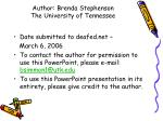 author brenda stephenson the university of tennessee