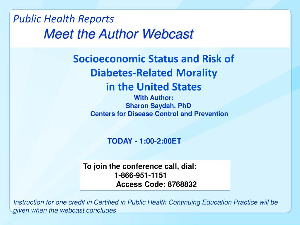 public health reports meet the author webcast l.
