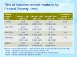 risk of diabetes related mortality by federal poverty level