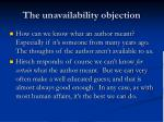 the unavailability objection