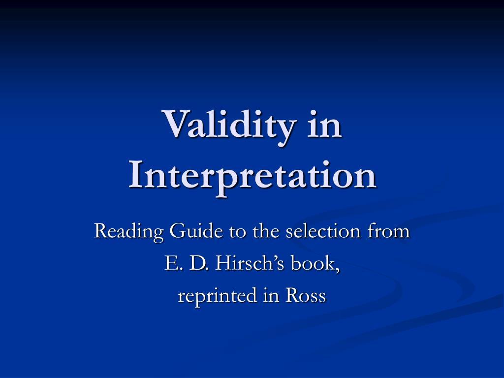 validity in interpretation l.
