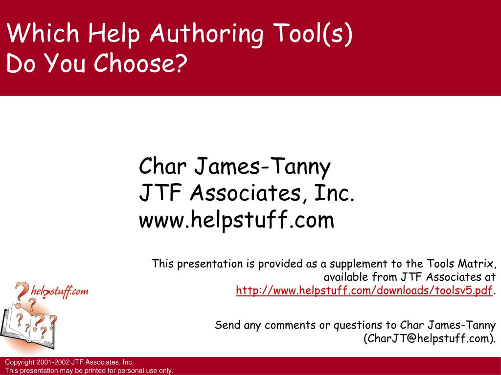 which help authoring tool s do you choose l.