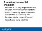 a quasi governmental champion