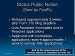 status public notice sent by fedex