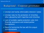 background corporate governance