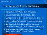 slovak key policies insolvency