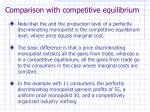comparison with competitive equilibrium