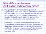 other differences between most auction and monopoly models