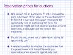 reservation prices for auctions