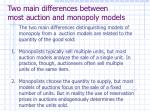two main differences between most auction and monopoly models