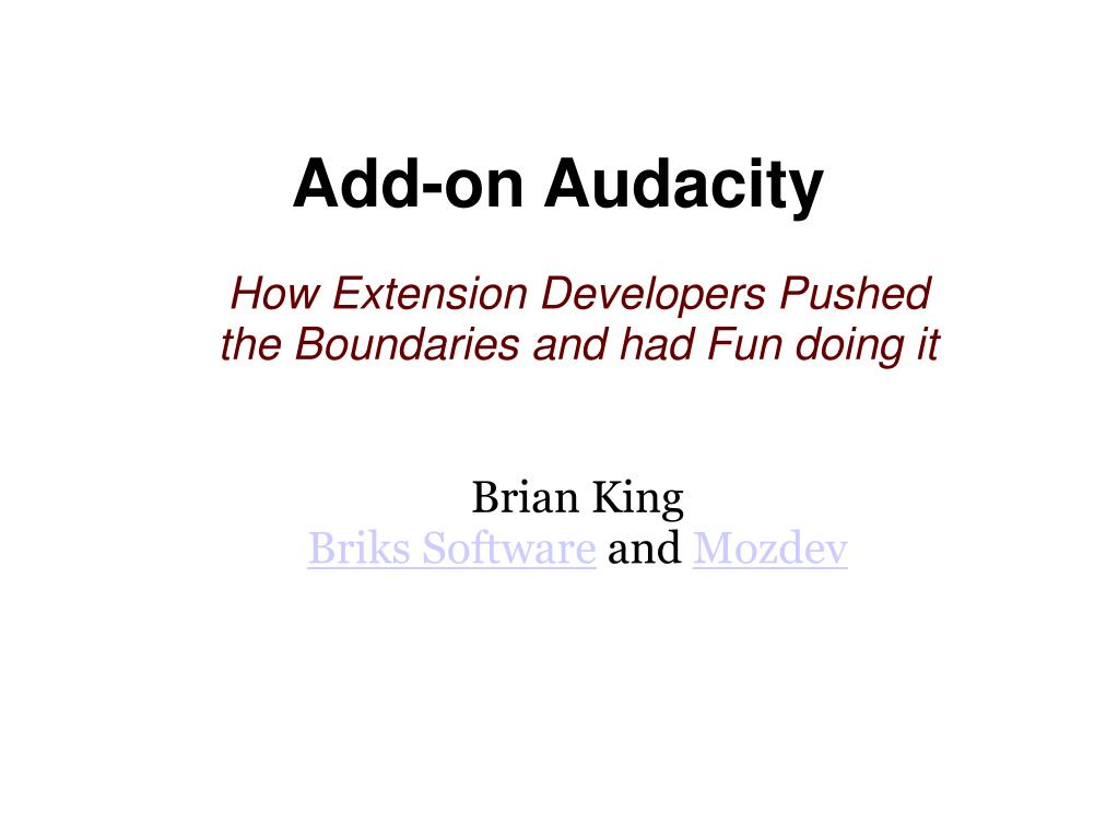 add on audacity l.