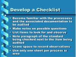 develop a checklist