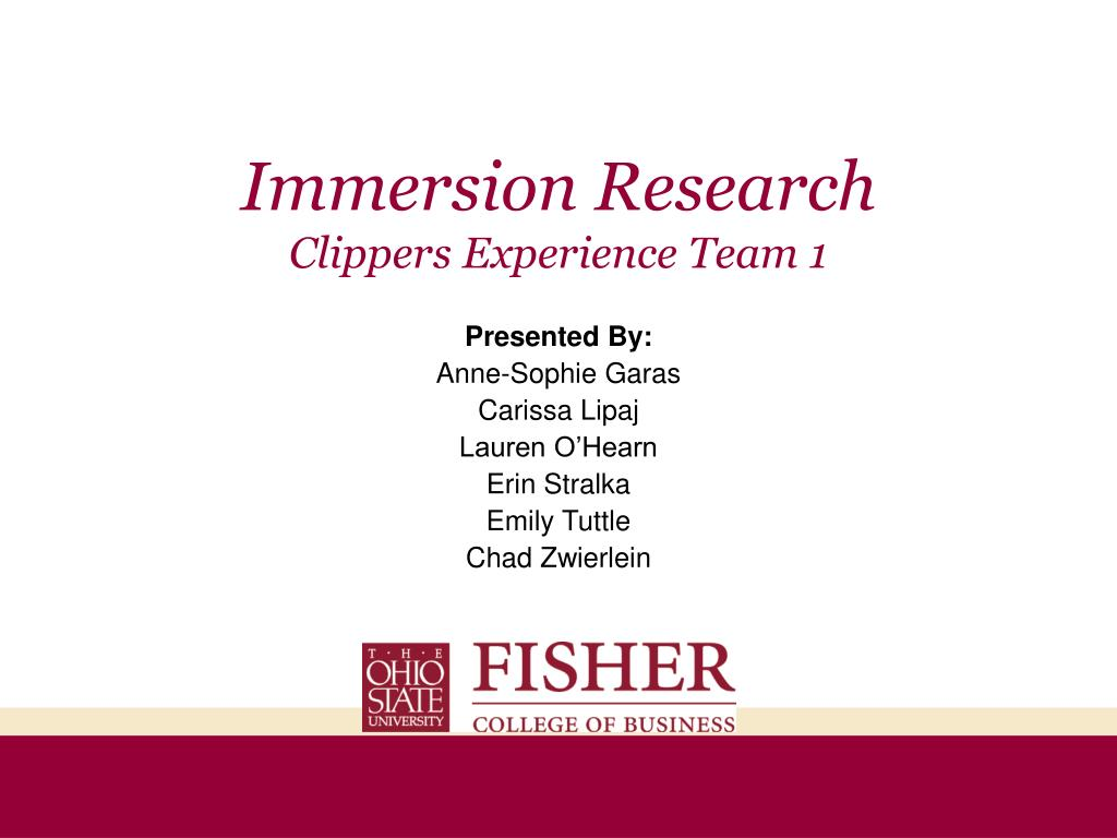 immersion research clippers experience team 1 l.