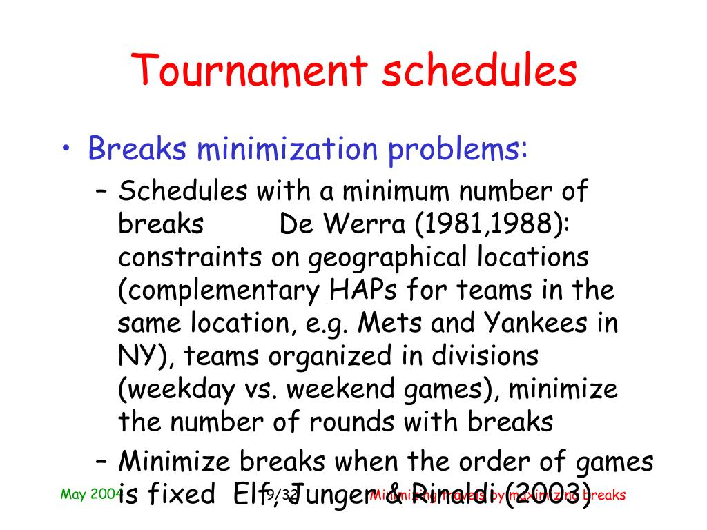 Tournament schedules