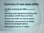 summary of next steps mas
