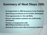 summary of next steps sb