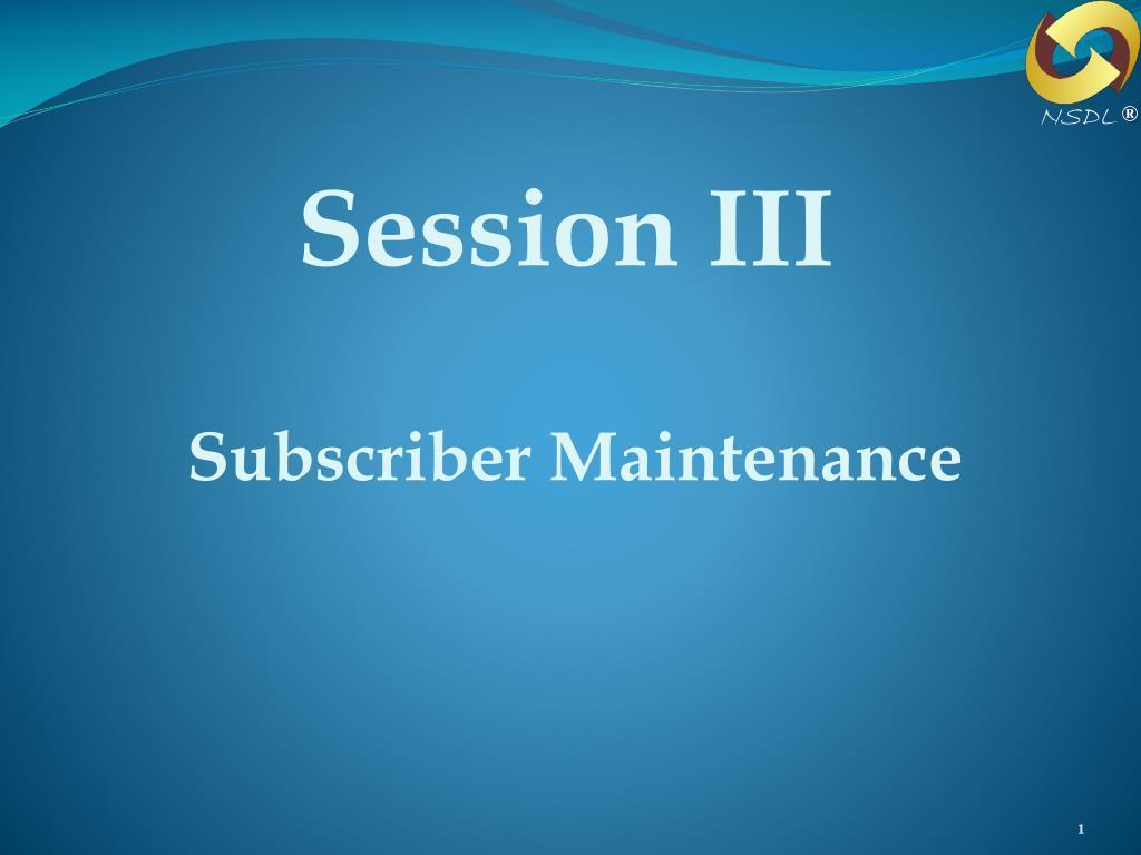 session iii l.