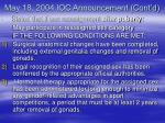 may 18 2004 ioc announcement cont d
