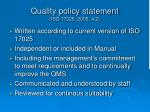 quality policy statement iso 17025 2005 4 2