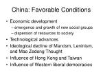 china favorable conditions