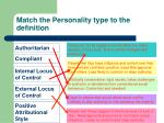 match the personality type to the definition