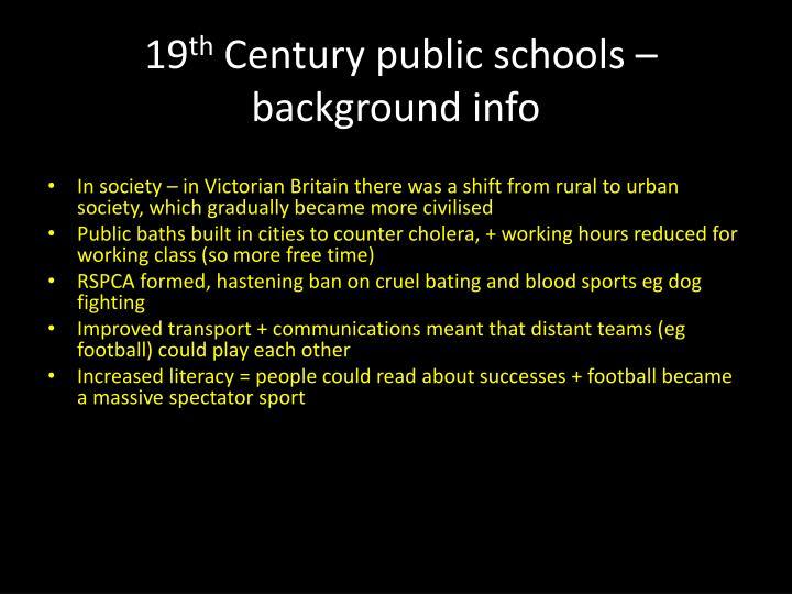 19 th century public schools background info