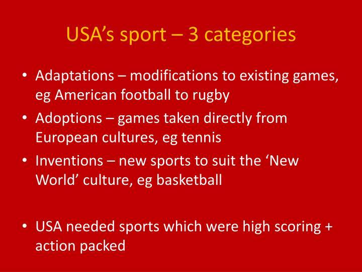 USA's sport – 3 categories